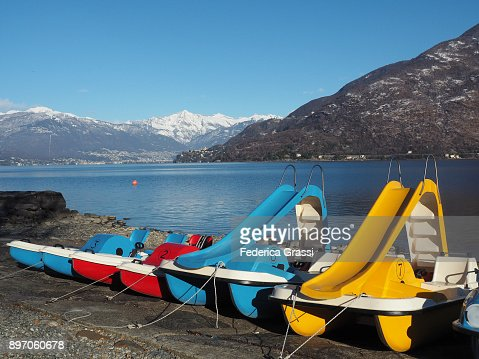 Colorful Pedal Boats On The Beach At
