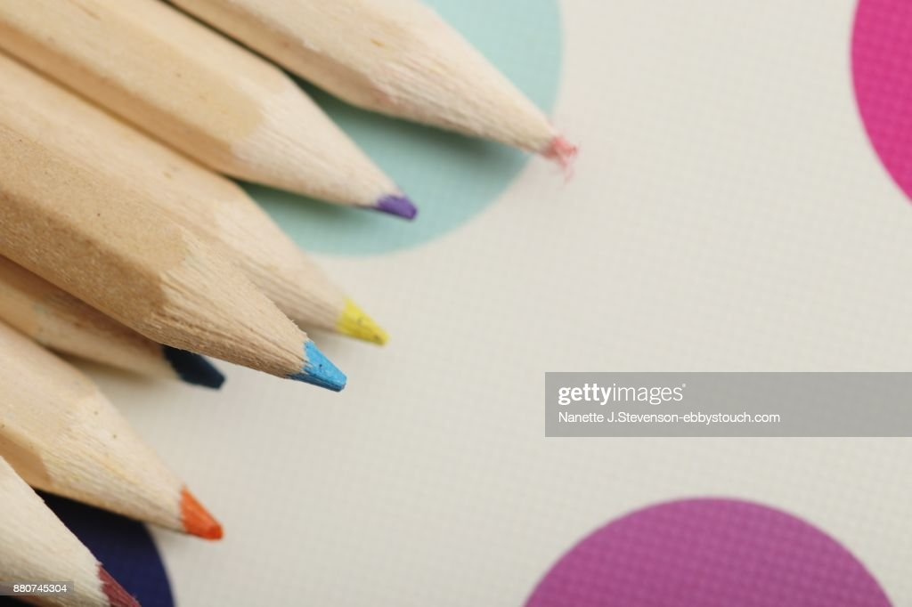 colorful pencils on colorful background : Stock Photo