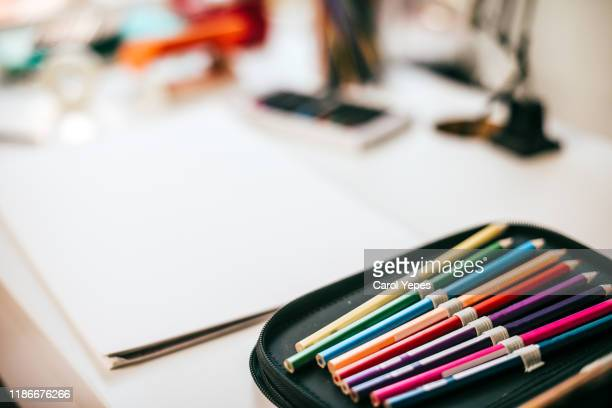 colorful pencils together in pencil case - pencil case stock pictures, royalty-free photos & images