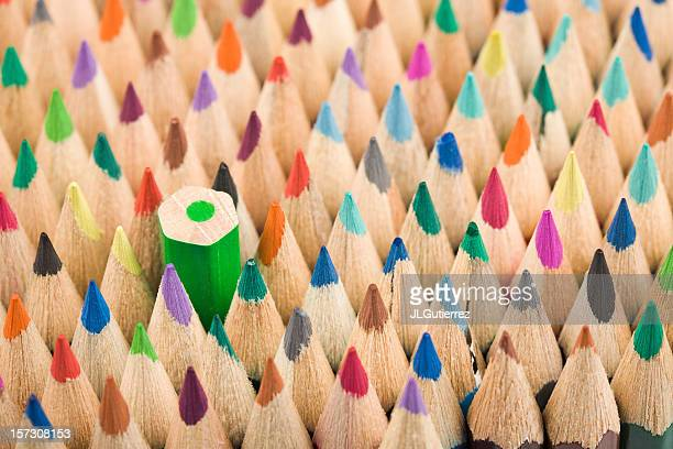 Colorful pencils with pencil turned down for individuality