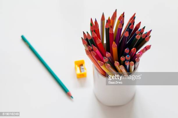 Colorful pencils with sharpener