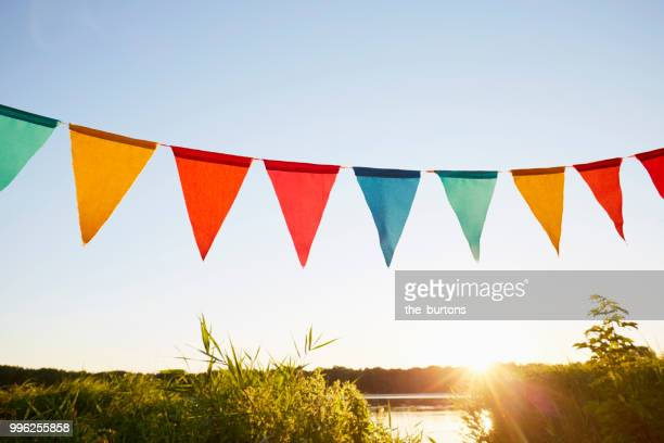 colorful pennant flags for party decoration at lake against sky - bunting stock pictures, royalty-free photos & images