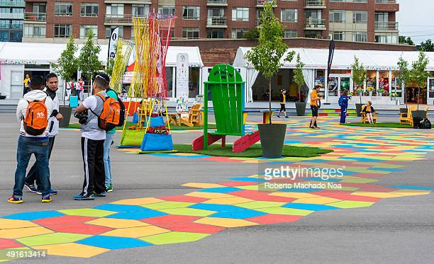 Colorful Pentagonal pattern marked on the ground as pathway at the games village during the 2015 Pan Am Games Toronto PanAm Games were a major...