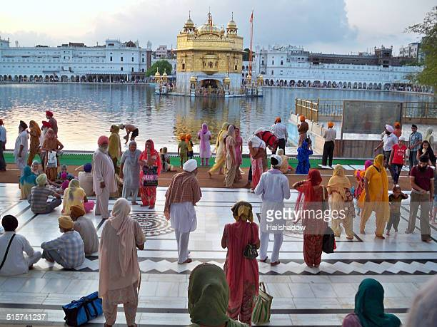 Colorful people at Golden Temple in Amritsar, India