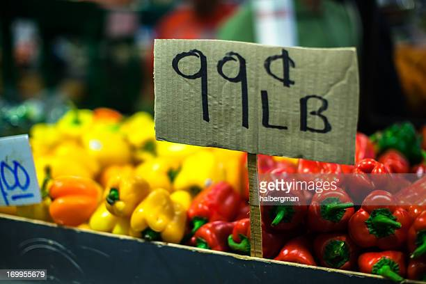 colorful peppers 99¢ per pound - 99 cents only stores stock photos and pictures