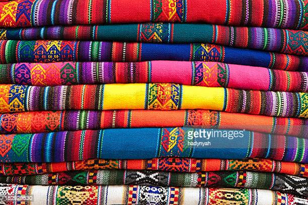Colorful Peruvian fabrics for sale, Cuzco market, Peru