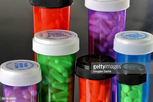 Colorful Pharmaceutical Medication bottles