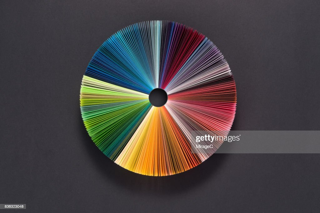 Colorful Pie Chart Consists of Paper Pages : ストックフォト