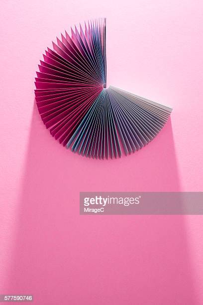 colorful pink paper pages fanned out - pie chart stock pictures, royalty-free photos & images