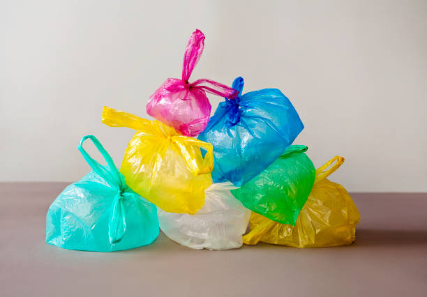 colorful plastic bags - plastic bag stock pictures, royalty-free photos & images