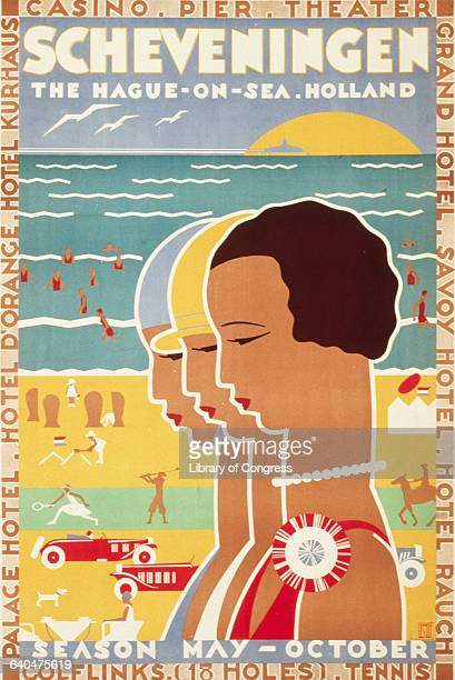 A colorful poster advertises the summer charms of Schveningen a suburb of The Hague