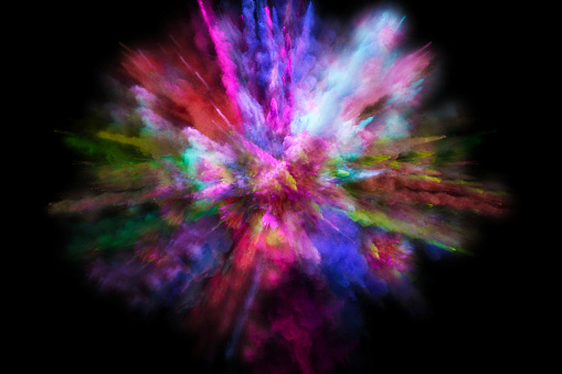 Colorful powder explosion in all directions in a nice composition with vivid colors and black background. - gettyimageskorea