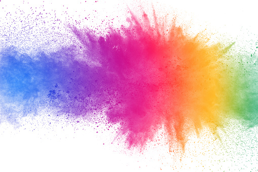 Colorful powder explosion on white background. Abstract pastel color dust particles splash. 1137054887