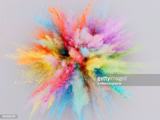 colorful powder explosion - creativity stock-fotos und bilder