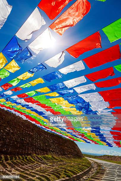 Colorful prayer flags,Qinghai,China.