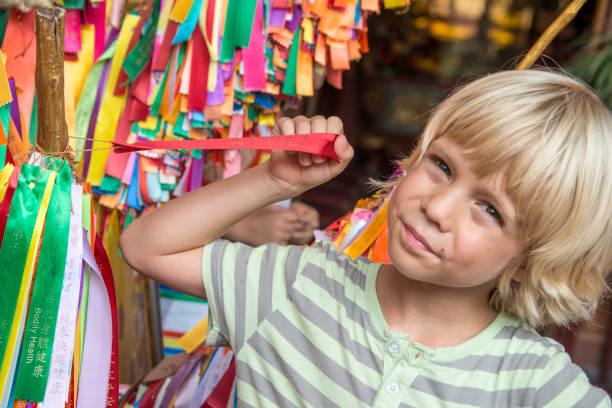 Colorful Prayer Ribbons, Kek Lok Si Buddhist temple Penang, Malaysia