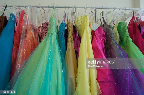 colorful prom gowns - prom dress stock pictures, royalty-free photos & images