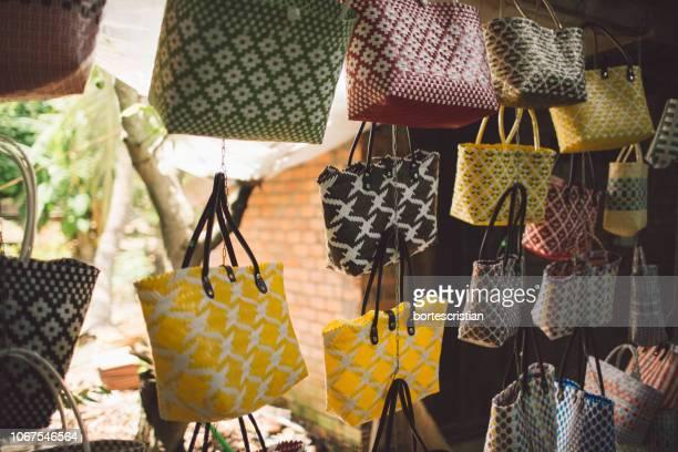 Colorful Purses Hanging At Market