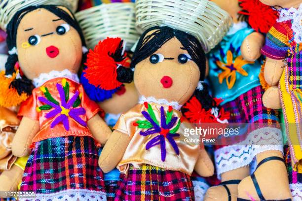 colorful rag dolls from oaxaca - doll stock pictures, royalty-free photos & images