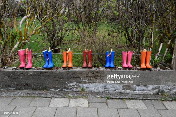 Colorful Rain Boot at street of Hofn, South Iceland