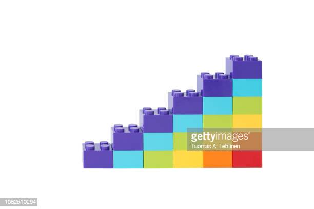 colorful rainbow colored ascending stacks made of toy building bricks, isolated on white background. - colors of rainbow in order stock pictures, royalty-free photos & images