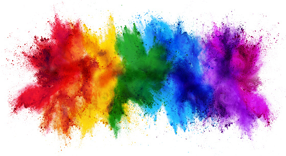 colorful rainbow holi paint color powder explosion isolated white wide panorama background 1140073559