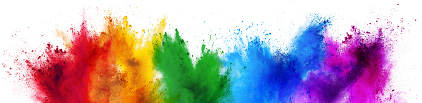 colorful rainbow holi paint color powder explosion isolated white wide panorama background 1140073676