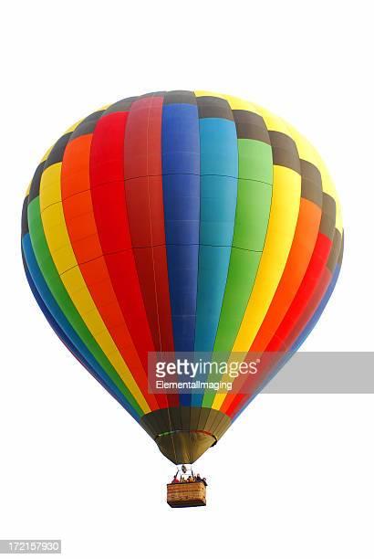 En montgolfière couleurs arc-en-ciel isolé sur blanc