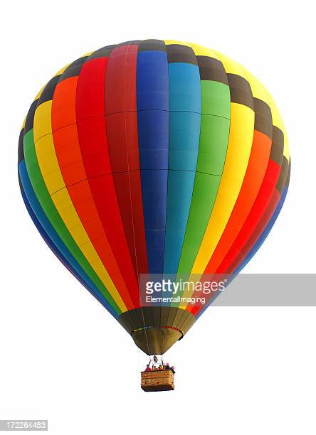 Colorful Rainbow Hot Air Balloon Isolated on White