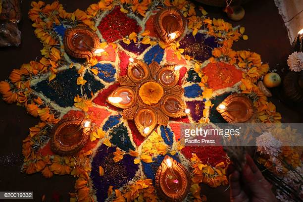 A colorful Rangoli is pictured during a devotee worship to Goddess Laxmigoddess of wealth on Laxmi puja the third day of Tihar festival Lakshmi puja...