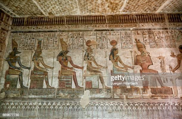 colorful reliefs inside temple of Hathor in Deir el-Medina