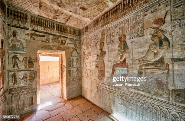 colorful reliefs inside temple of hathor in deir el-medina - abu simbel stock pictures, royalty-free photos & images
