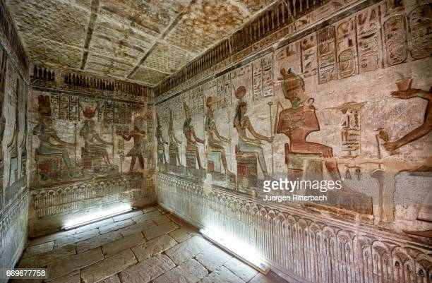 colorful reliefs inside temple of hathor in deir el-medina - egyptian god stock pictures, royalty-free photos & images