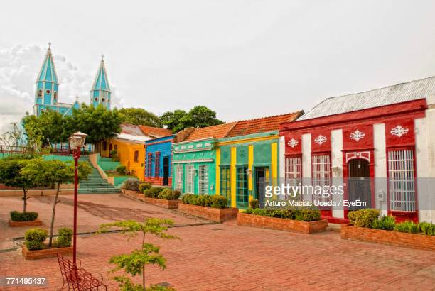 colorful residential buildings against sky - venezuela stock pictures, royalty-free photos & images