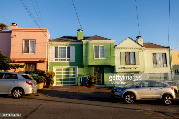 colorful residential houses at sunset - western usa stock pictures, royalty-free photos & images