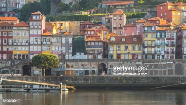 Colorful Ribera houses in Oporto, Portugal