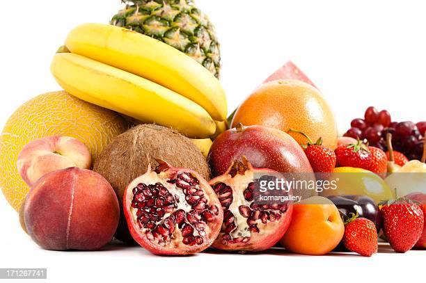 colorful ripe fruit composition on white background