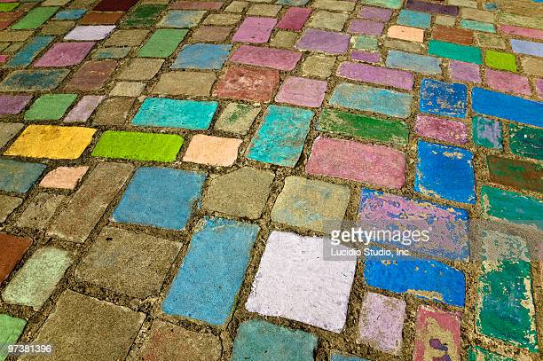 colorful road tiles spanish village art center bal - balboa park stock photos and pictures