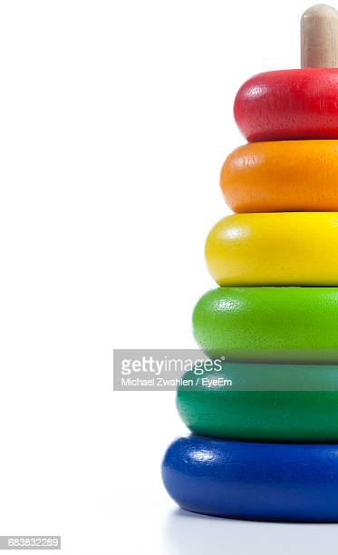 Colorful Rock A Stack Against White Background