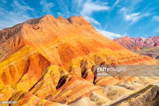 colorful rock formation, zhangye, gansu, china - 張掖市 ストックフォトと画像