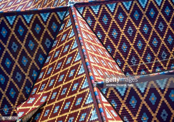 colorful roof texture, sibiu, romania - sibiu stock photos and pictures