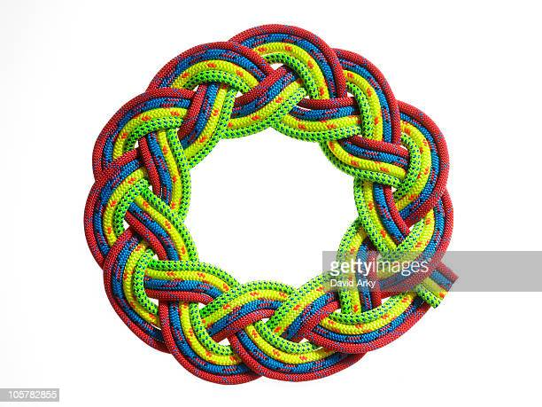 Colorful rope braided in a circle