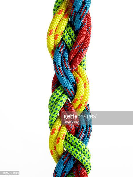 Colorful ropes braided together