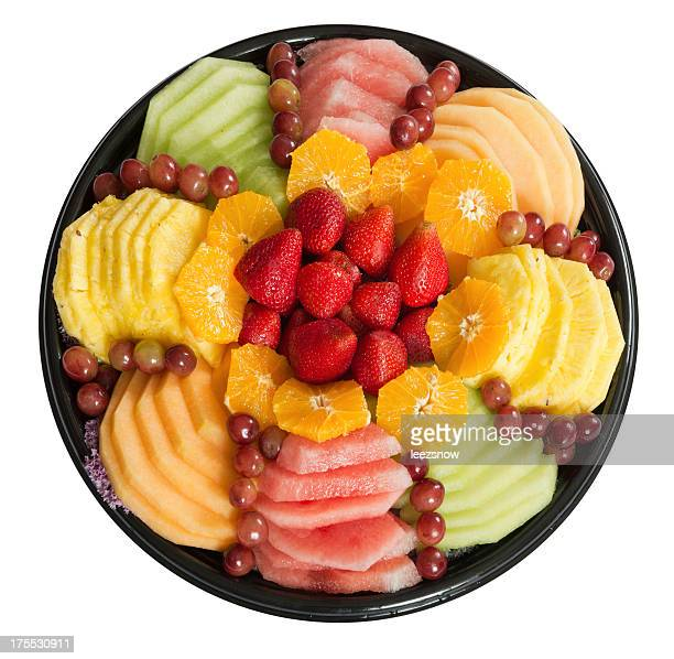 Colorful Round Fruit Platter on White