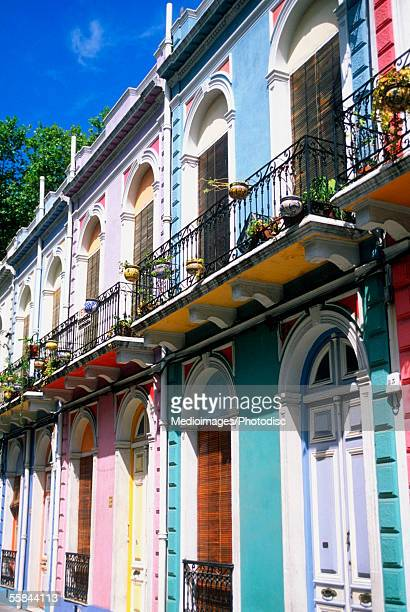 colorful row of houses, barrio reus, montevideo, uruguay - montevideo stock pictures, royalty-free photos & images