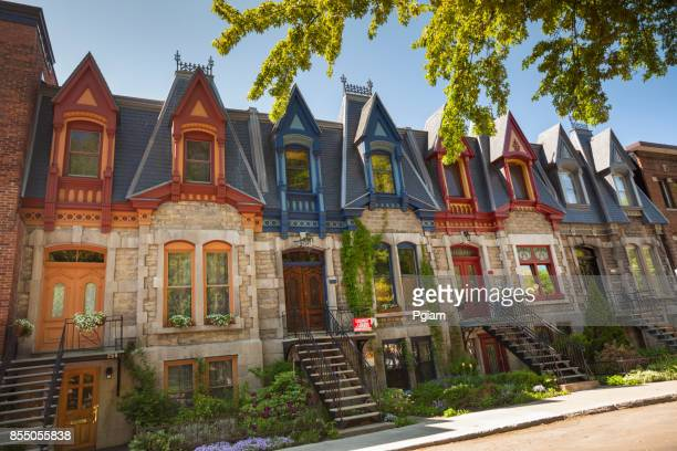 colorful row of houses in montreal canada - montréal stock pictures, royalty-free photos & images