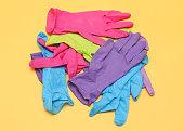 Colorful rubber medical gloves
