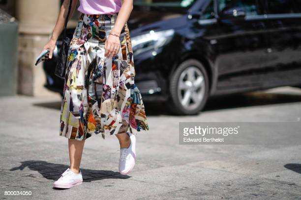 A colorful ruffled skirt is seen outside the Louis Vuitton show during Paris Fashion Week Menswear Spring/Summer 2018 on June 22 2017 in Paris France