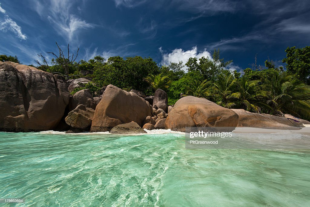 colorful sandy beach shot from the water : Stock Photo