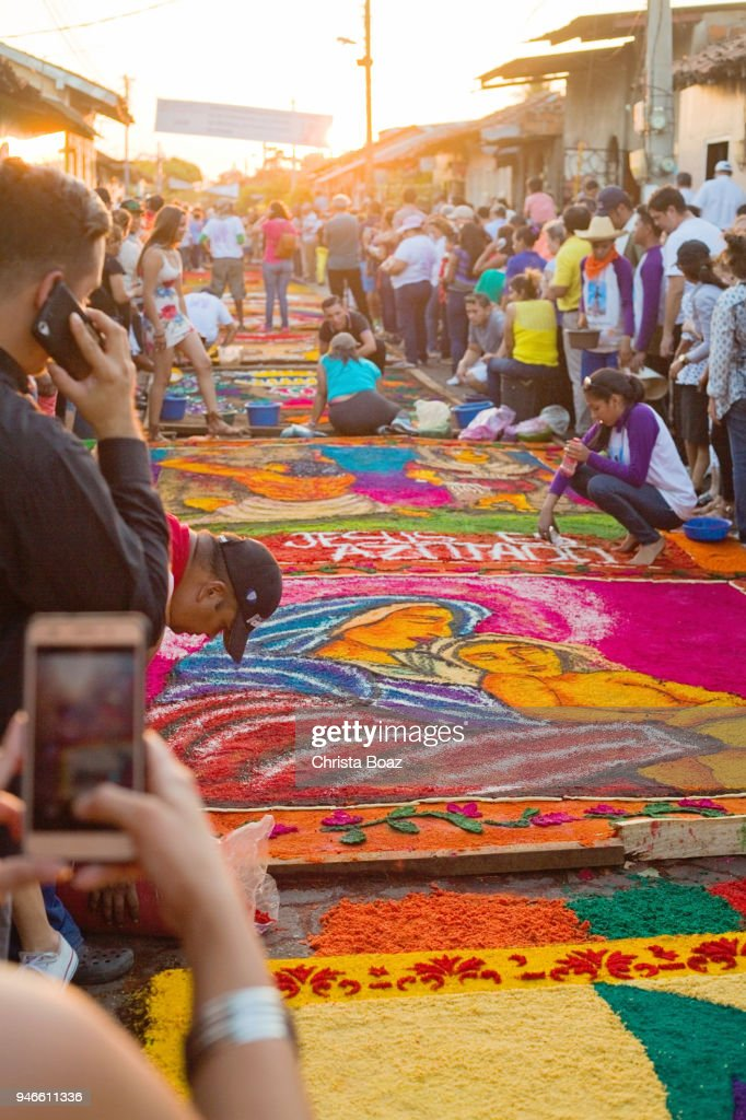 Colorful Sawdust Carpets during Holy Week : Stock Photo